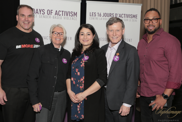 Pictured left to right: Jamie Taras, Director of Community Relations for the BC Lions; Tracy Porteous, Executive Director of the Ending Violence Association of BC; the Honourable Maryam Monsef, Minister of Status of Women; Winnipeg South MP Terry Duguid; and JR LaRose, former BC Lions and Be More Than A Bystander Spokesperson