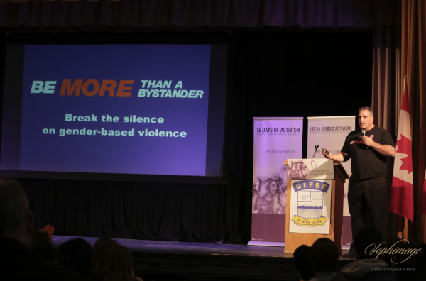 Jamie Taras presenting the Be More Than A Bystander program